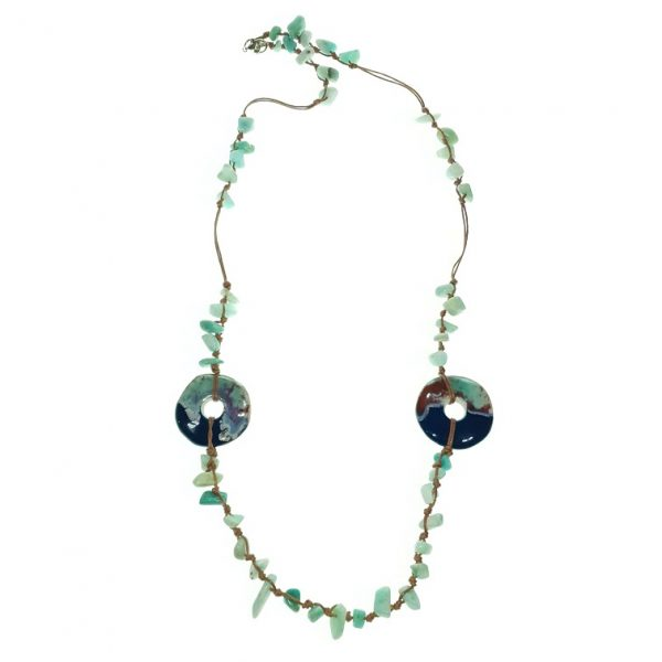 Beaded Porcelain and Stone necklace