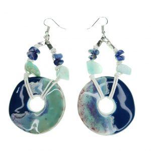 Beaded Porcelain and Seashell earrings