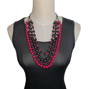 Beaded Red and Black four-layer Stone necklace