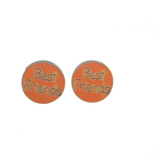 Best Friends laser cut wooden earrings