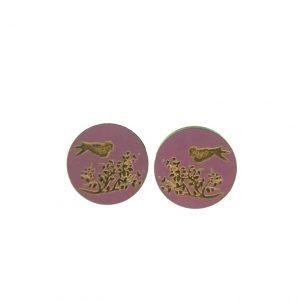 Bird in a tree laser cut engraved wooden earrings