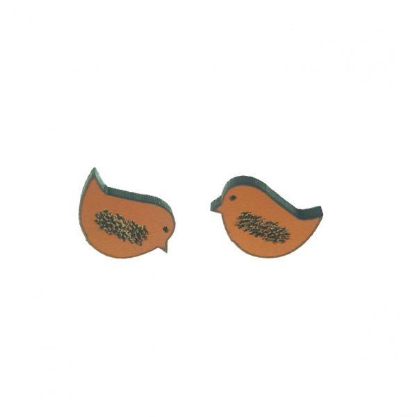 Bird with pattern laser cut engraved wooden earrings