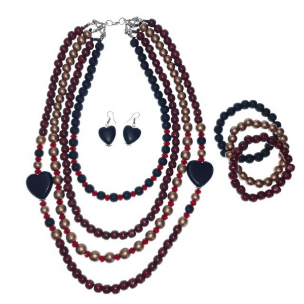 Black, Gold and Burgundy Wooden four-layer beads necklace with Chinese crystals with wooden Hearts, elastic wooden beads bracelets, and heart earring jewellery