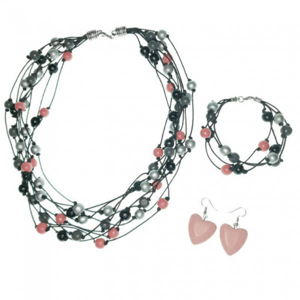 Black, Grey, Silver and Rose Pink layered Wooden beads necklace, bracelet and earring set