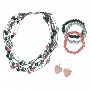 Black, Grey, Silver, and Rose Pink layered Wooden beads necklace, elastic wooden beads bracelets, and wooden heart earrings