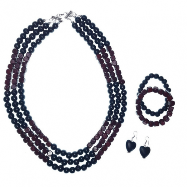 Black and Burgundy layered wooden beads necklace, bracelets and earring set