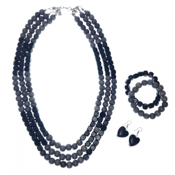 Black and Grey layered wooden beads necklace, bracelets and earring set