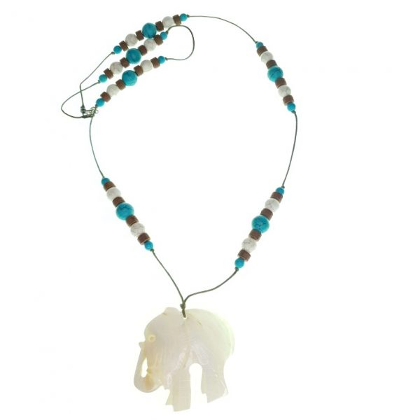 Stone necklace with a Shell elephant pendant