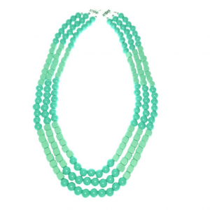 Blue and mint three layered wooden beads necklace