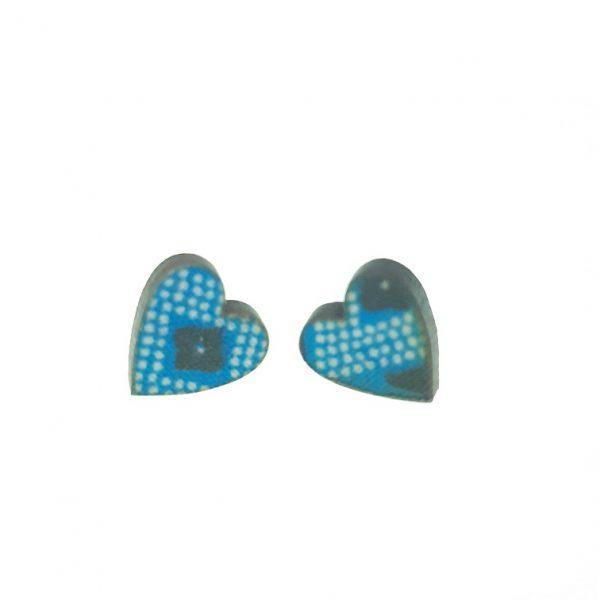 Blue and white pattern heart laser cut wooden earrings