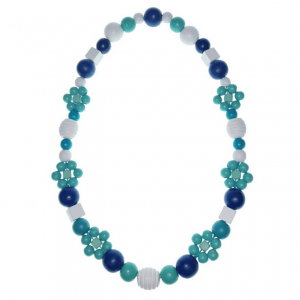 Blue and white wooden beads necklace with painted beads and flower-shaped beads.