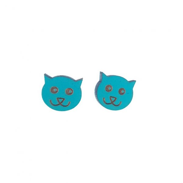 Blue cat laser cut engraved wooden earrings