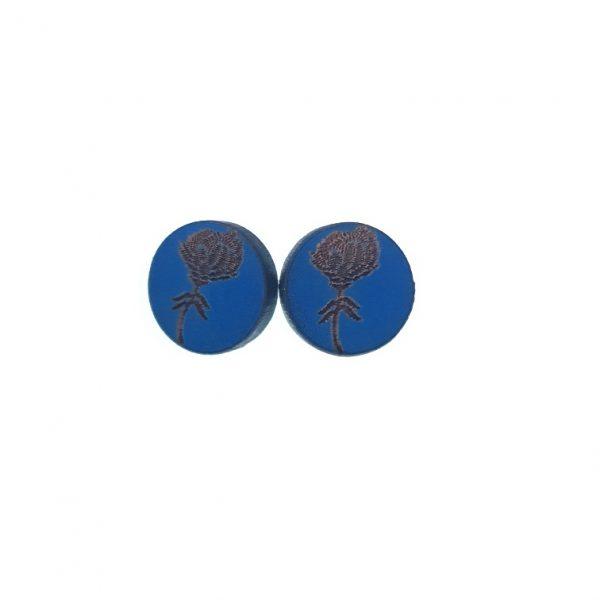 Blue Protea laser cut engraved wooden earrings