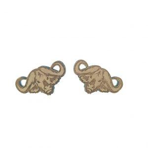 Buffalo laser cut engraved wooden earrings