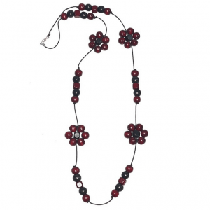 Burgundy and black Flower beads string necklace