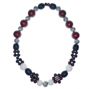 Burgundy, black and white wooden beads necklace with painted beads and flower-shaped beads.