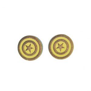 Captain America laser cut wooden earrings