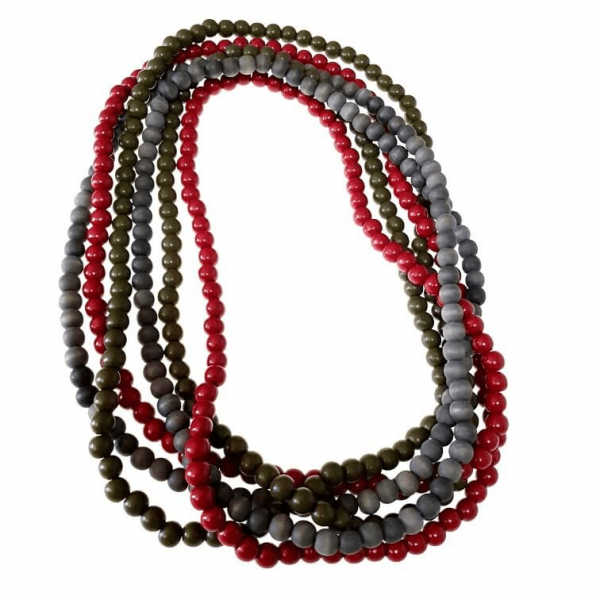 Cherry red, grey, and olive long three-string wooden beads necklaces jewellery set