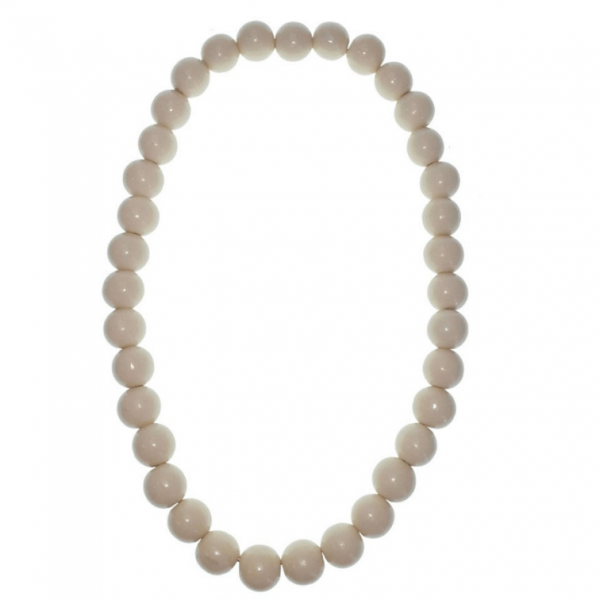 Cream 20mm wooden beads string necklace