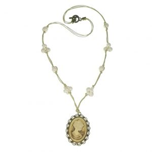 "Stone necklace with ""Cameo themed"" pendant."
