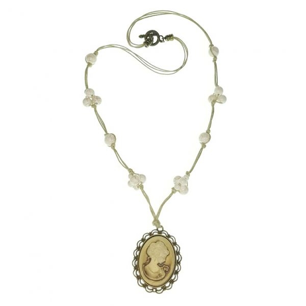 """Stone necklace with """"Cameo themed"""" pendant."""