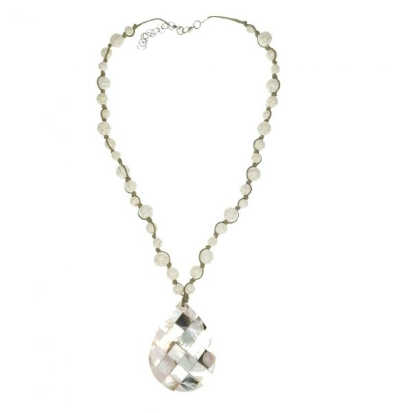 Stone beads necklace and Seashell pendant