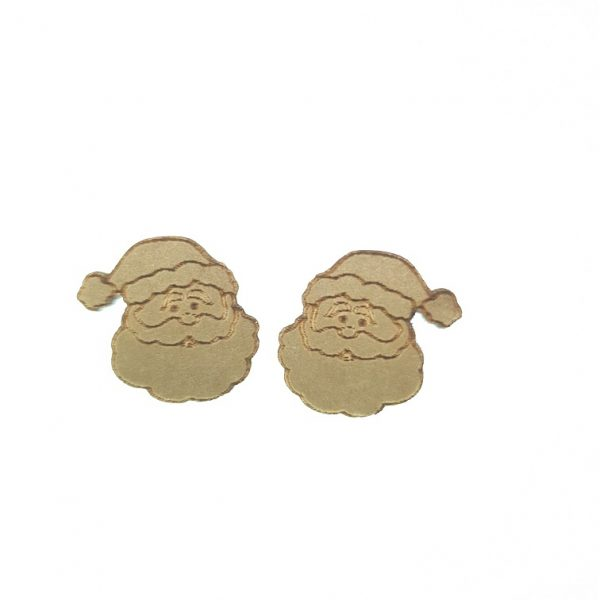 Engraved Father Christmas laser cut wooden earrings