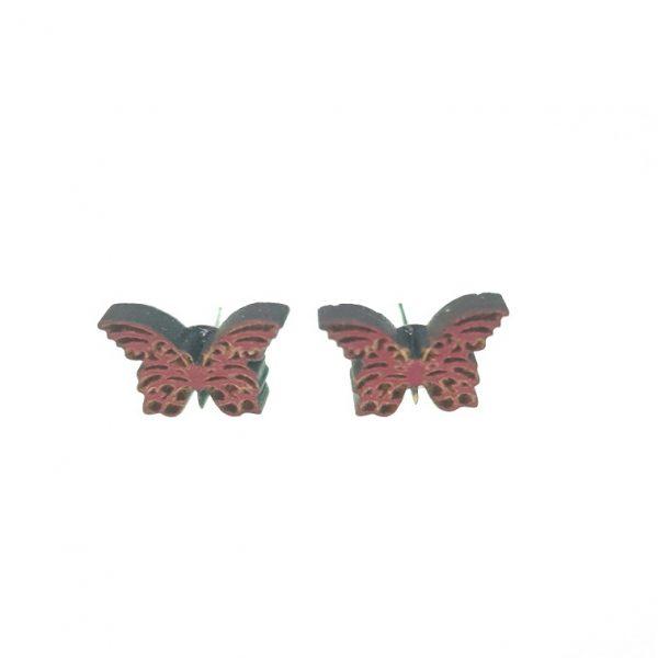 Engraved butterfly wooden earrings