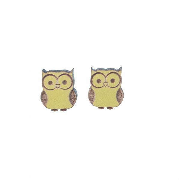 Engraved yellow owl laser cut wooden earrings