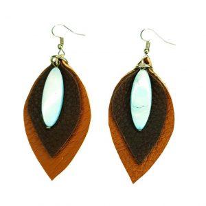 Flower pebble shaped Leather earrings