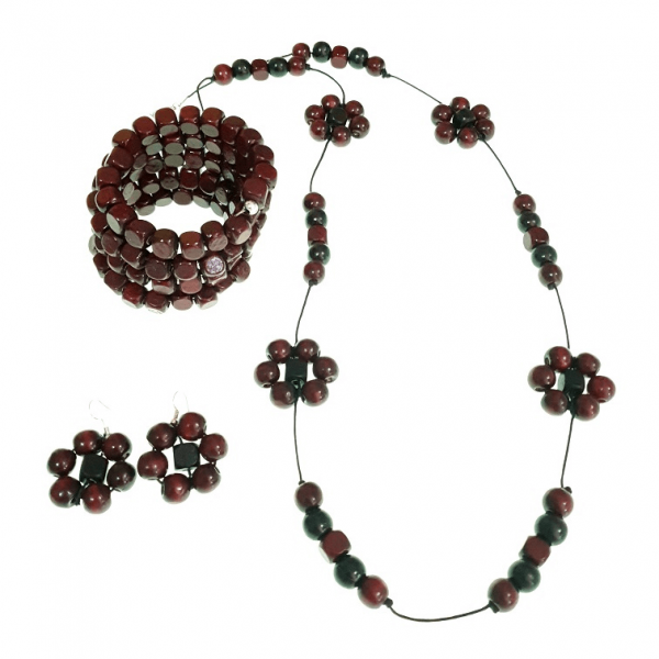 Burgundy Memory wire wooden beads bracelet and flower-shaped earrings jewellery set