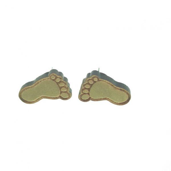 Foot print laser cut wooden earrings