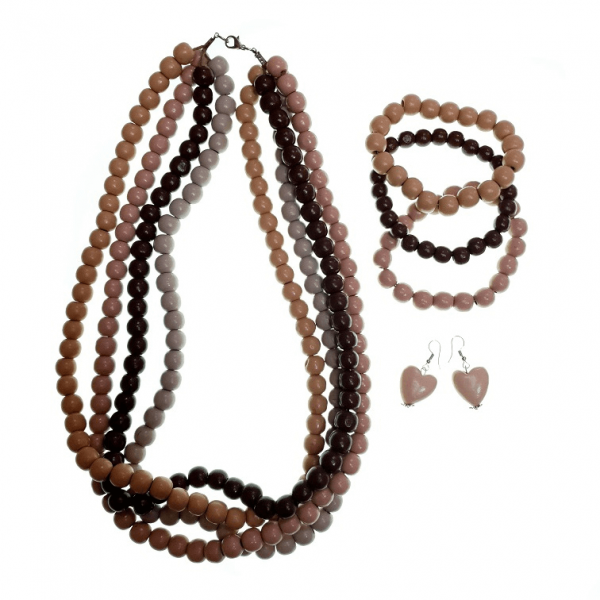 Four layer brown wooden beads necklace, elastic wooden beads bracelets and wooden heart earring jewellery set