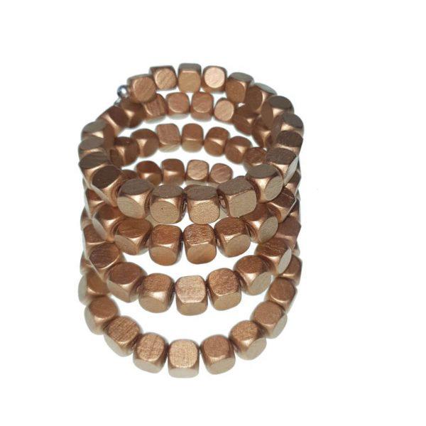 Memory wire wooden beads bracelet