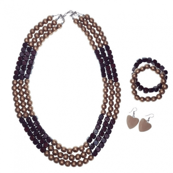 Gold and Burgundy layered wooden beads necklace, bracelets, and earring set