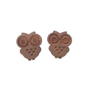 Gold engraved Owl laser cut wooden earrings
