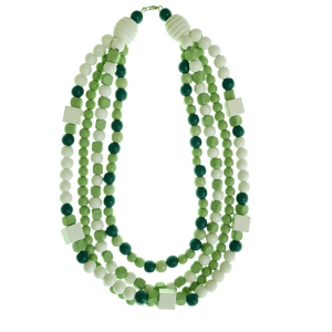 Green and white short 4 layer wooden beads necklace
