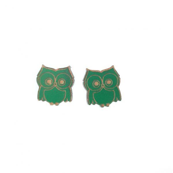 Green engraved owl laser cut wooden earrings