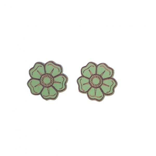 Green flower laser cut engraved wooden earrings