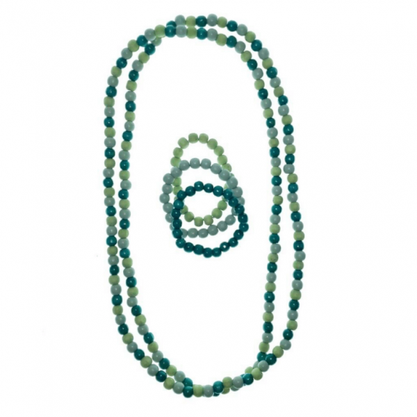 Green long wooden beads necklace and elastic wooden beads bracelet set