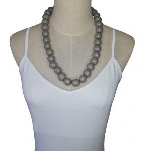 Grey 20mm wooden beads string necklace