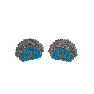 Hedgehog laser cut engraved wooden earrings