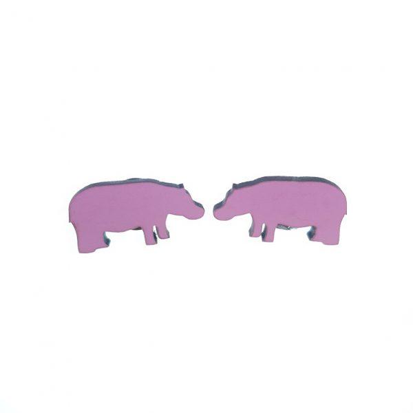 Hippo laser cut engraved wooden earrings