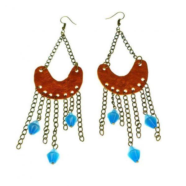 Leather horse-shoe shaped earrings