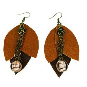 Flower shape leather earrings