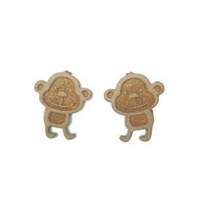 Large monkey laser cut wooden earrings