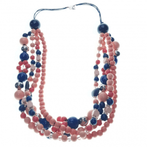 Layered Peach, Blue, and Orange necklace with spacers and stone hearts
