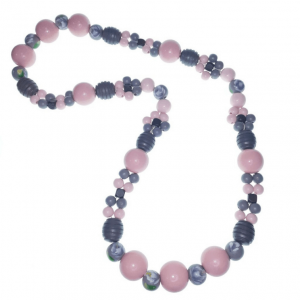 Long light pink grey and white wooden beads necklace with painted flower beads and flower-shaped beads