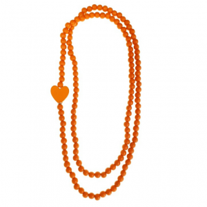 Long orange wooden beads necklace with a wooden heart