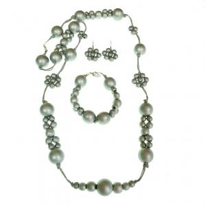 Long silver beaded wooden beads necklace, bracelet, and flower earring jewellery set